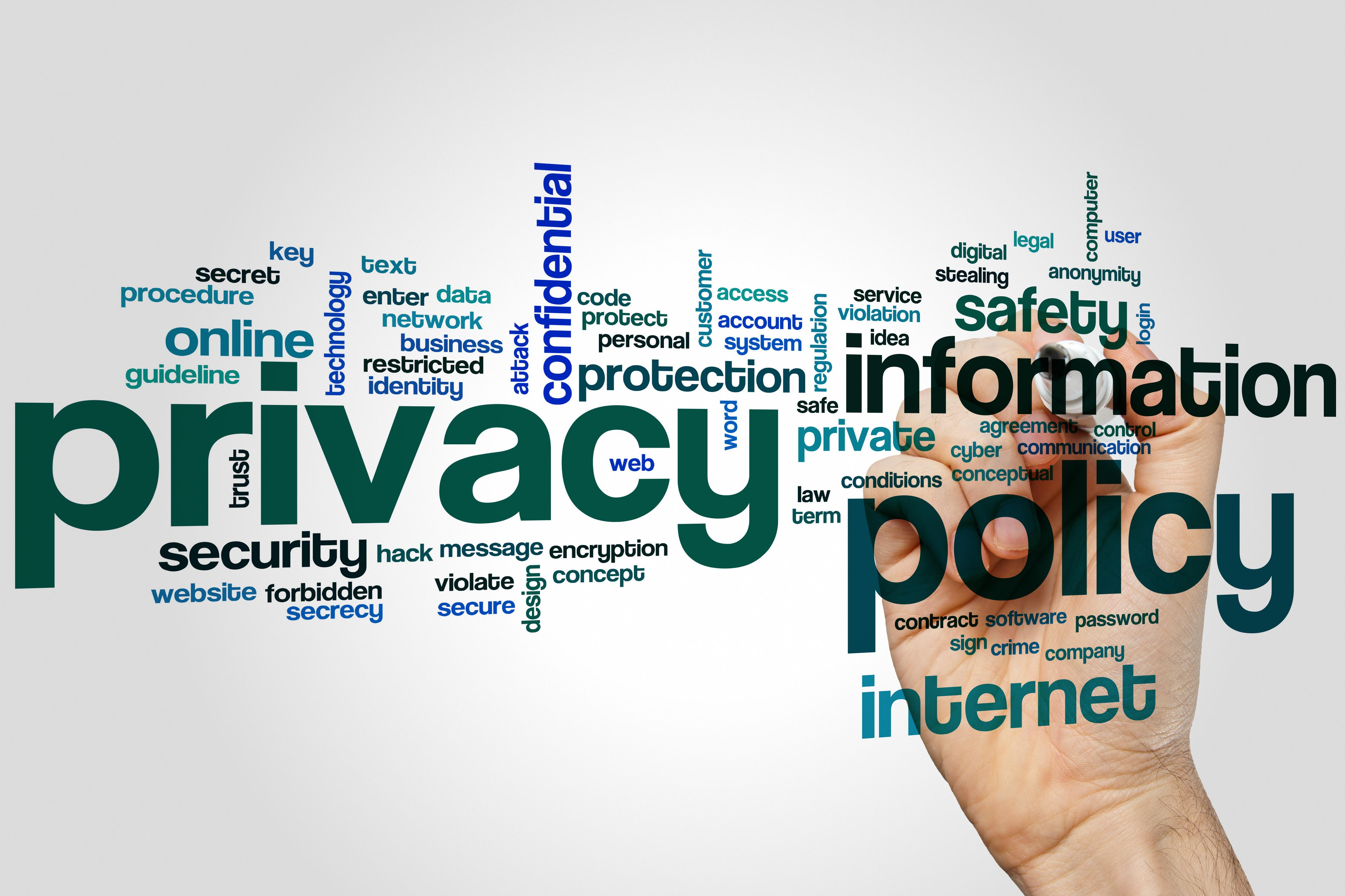 Privacy policy word cloud concept