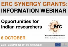 Image of (689215) Info Webinar: ERC Synergy Grants - Opportunities for Indian Researchers