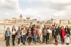 Hungarian parliament with students in front